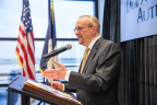 The DuPage Airport Authority (DAA) renamed the airport's Flight Center in honor of the fiscal and good government reforms instituted by former chairman Daniel L. Goodwin, seen speaking at the dedication ceremony last week. (Photo: Business Wire)